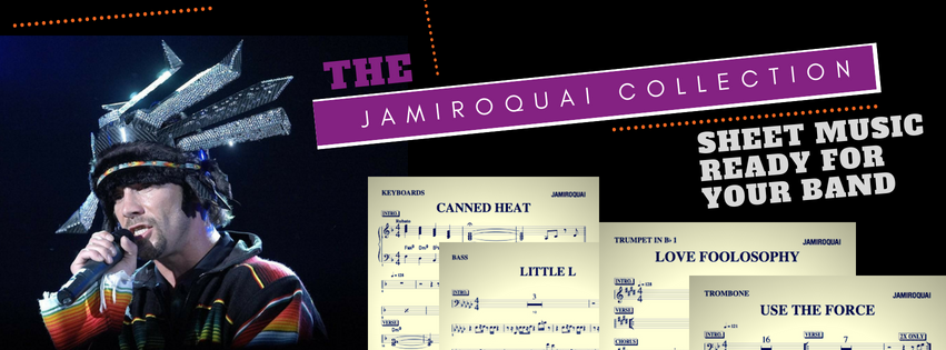 Jamiroquai sheet music for band, horn parts drum part bass part guitar part keyboard sheet music