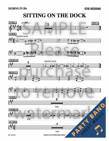 Sitting On The Dock of the Bay (Otis Redding) - Horn Charts - Party Band Sheet Music - 1