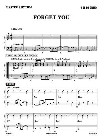 Forget You (Cee Lo Green) - Master Rhythm Chart