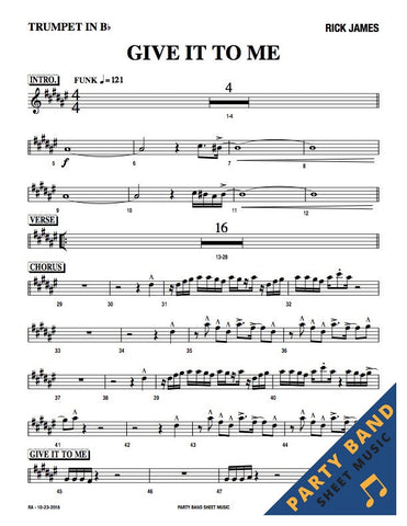 Give It To Me (Rick James) - Sheet Music Horn and Rhythm