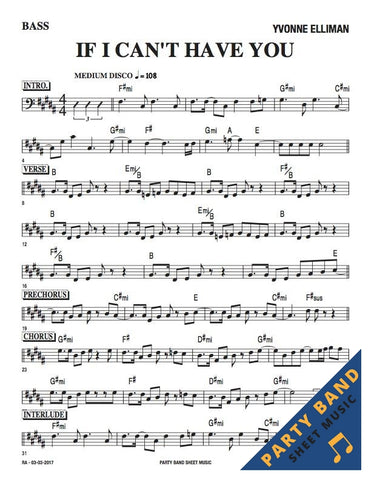 If I Can't Have You (Yvonne Elliman) - Bass Part Sheet Music pdf download