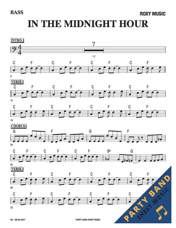 All Music Chords bass sheet music : In The Midnight Hour (Roxy Music) - Bass Part Sheet Music – Party ...