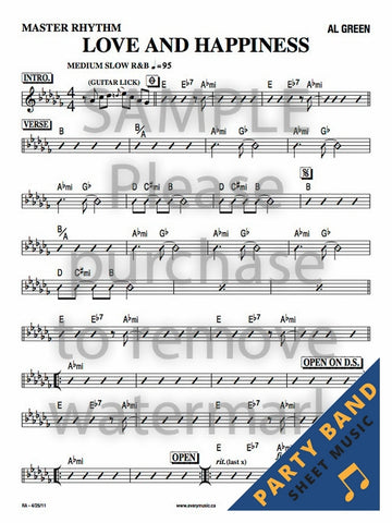 Love and Happiness (Al Green) - Rhythm Section Chart - Party Band Sheet Music