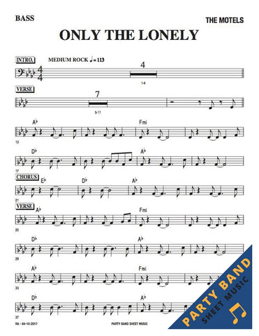 Only The Lonely (The Motels) - Bass Part Sheet Music pdf download