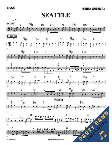 Seattle (Bobby Sherman) - Bass Part Sheet Music pdf downlaod