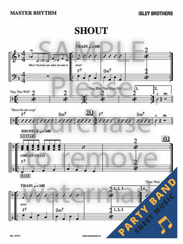 Shout (Isley Brothers) - Master Rhythm Chart