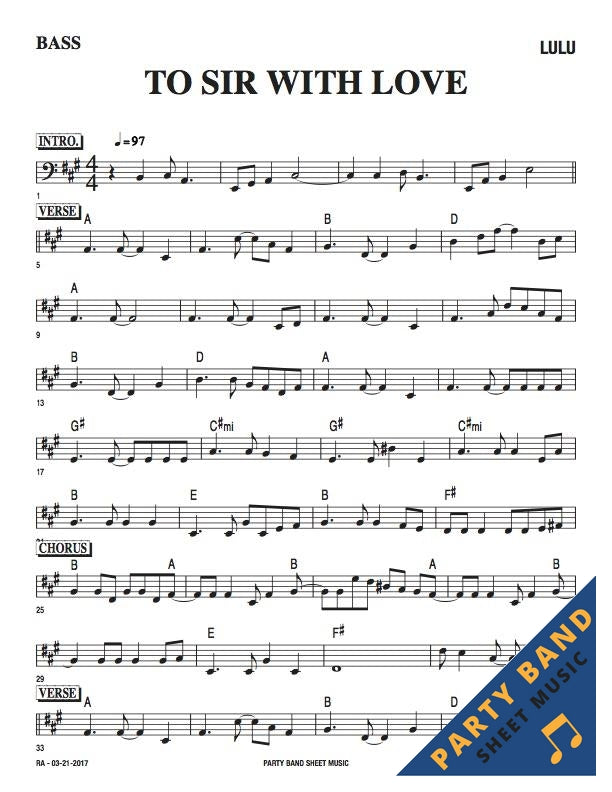 All Music Chords bass sheet music : To Sir With Love (Lulu) - Bass Part Sheet Music – Party Band Sheet ...