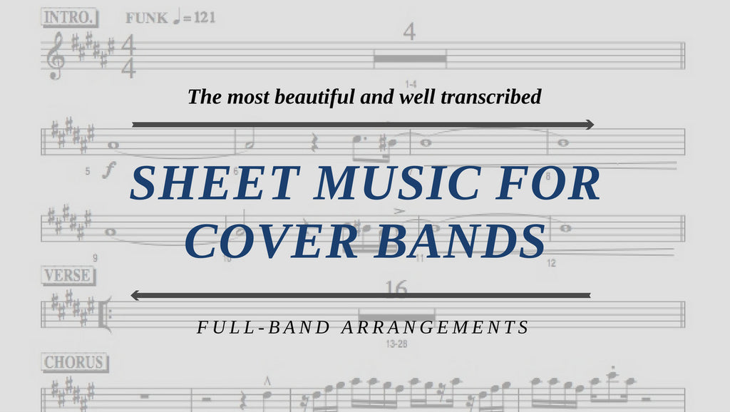 Sheet music for cover bands, with horn arrangements, guitar charts, bass charts, drum charts and piano charts