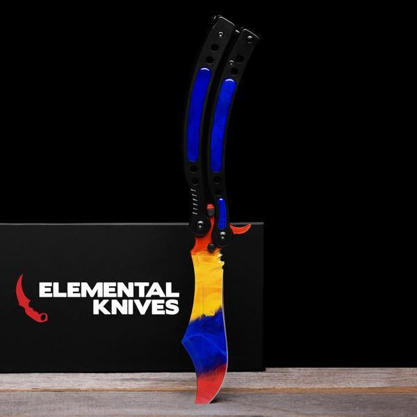 Marble Fade Folding Butterfly Knife-Real Video Game Knife Skins-Elemental Knives