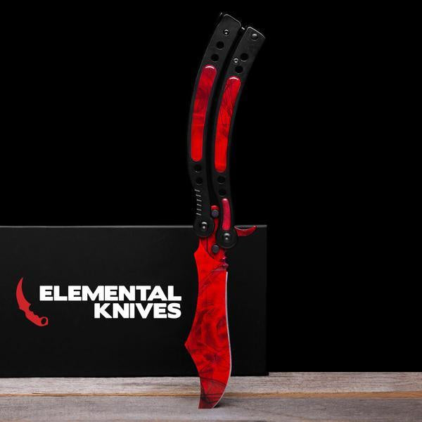 Ruby Folding Butterfly Knife