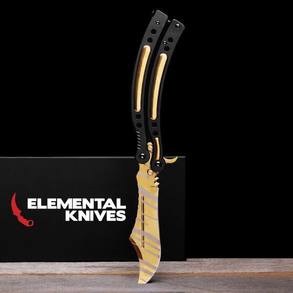 Tiger Tooth Folding Butterfly Knife-Real Video Game Knife Skins-Elemental Knives