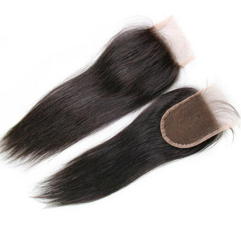 Raw Virgin Indian Straight Steamed Closure - 4X4 - Tress Temple