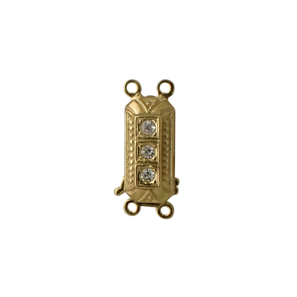 2 Row Clasp - Rounded Rectangle in Art Deco Style with CZs