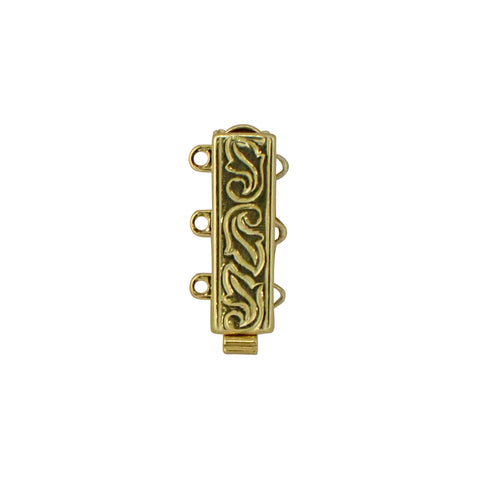3 Row Clasp - Vertical Rectangle with Engraved Pattern