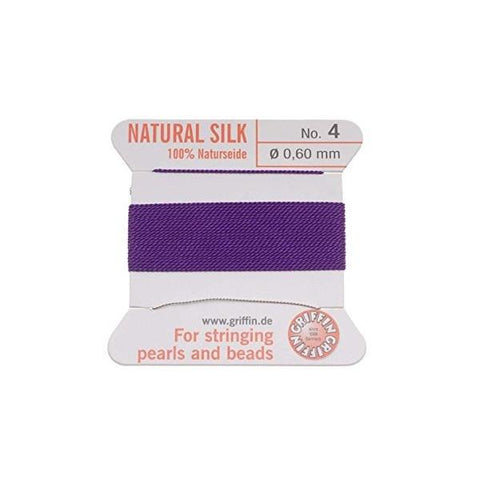 Griffin Natural Silk Beading Cord: Amethyst (All Sizes)
