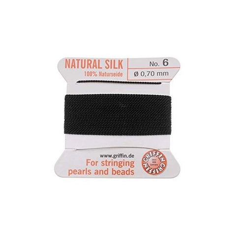 Griffin Natural Silk Beading Cord: Black (All Sizes)