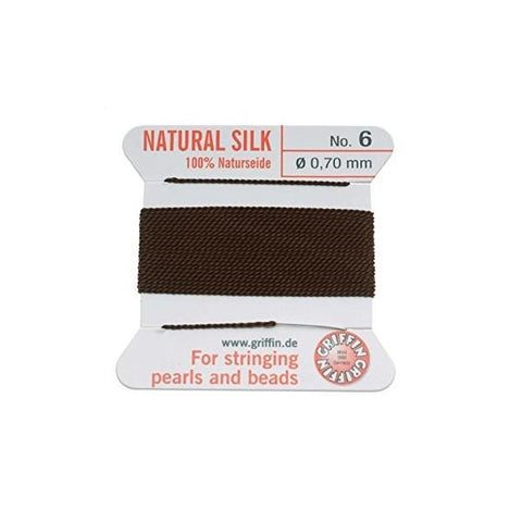 Griffin Natural Silk Beading Cord: Brown (All Sizes)