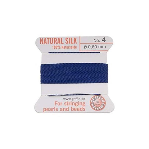 Griffin Natural Silk Beading Cord: Dark Blue (All Sizes)