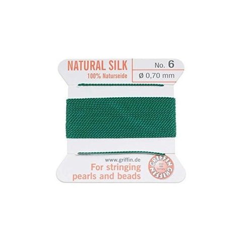 Griffin Natural Silk Beading Cord: Green (All Sizes)