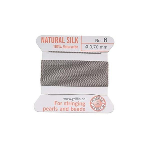 Griffin Natural Silk Beading Cord: Grey (All Sizes)