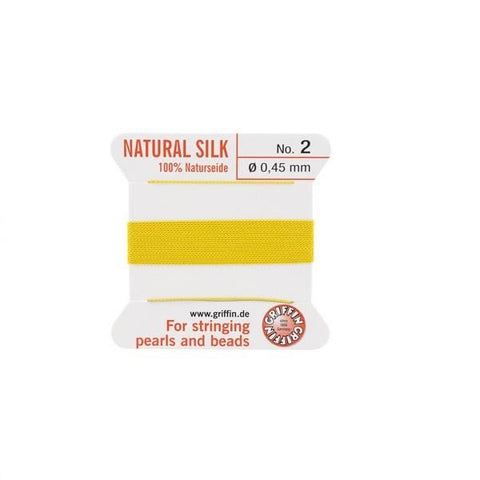 Griffin Natural Silk Beading Cord: Yellow (All Sizes)