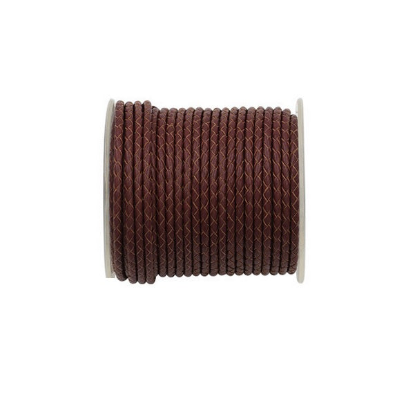 Braided Leather Cord - 4.0mm diameter