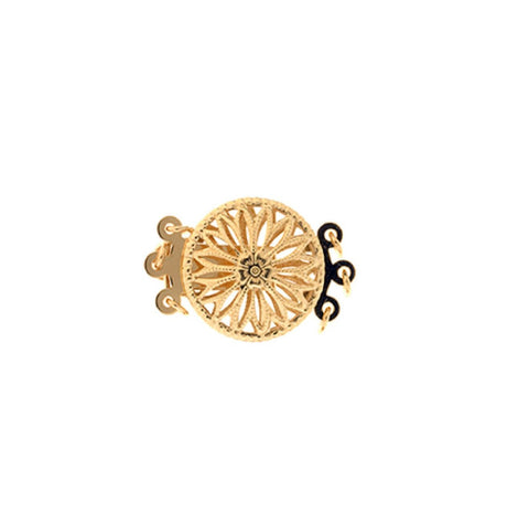 3 Row Clasp - Round Shape with Filligree