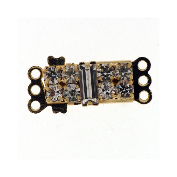 FINDINGS: Precious & Plated - 3 Row Pearl Clasp - Fancy Rectangle With Rhinestones