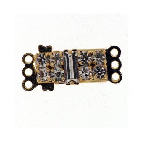 3 Row Pearl Clasp - Fancy Rectangle with Rhinestones