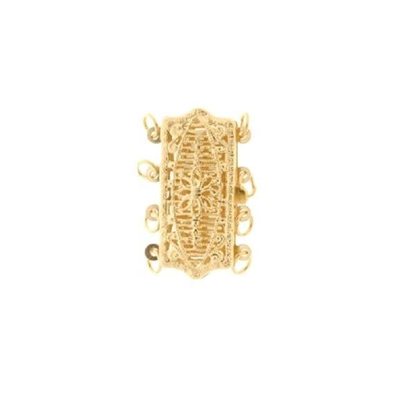 FINDINGS: Precious & Plated - 4 Row Rectangle Shape Filigree Pearl Clasp