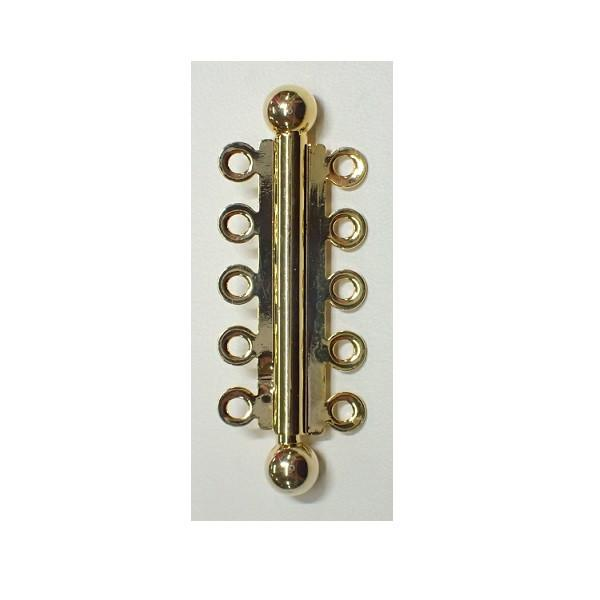 FINDINGS: Precious & Plated - 5 Row Slide Pearl Clasp