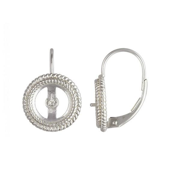 FINDINGS: Precious & Plated - Continental Earhooks With Pearl Rope Bezel