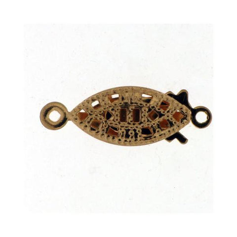 FINDINGS: Precious & Plated - Single Row Pearl Clasp -Fancy Filigree Marquise