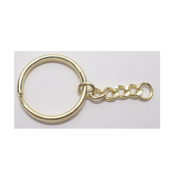 Keyring with Diamond Cut Curb Chain Drop