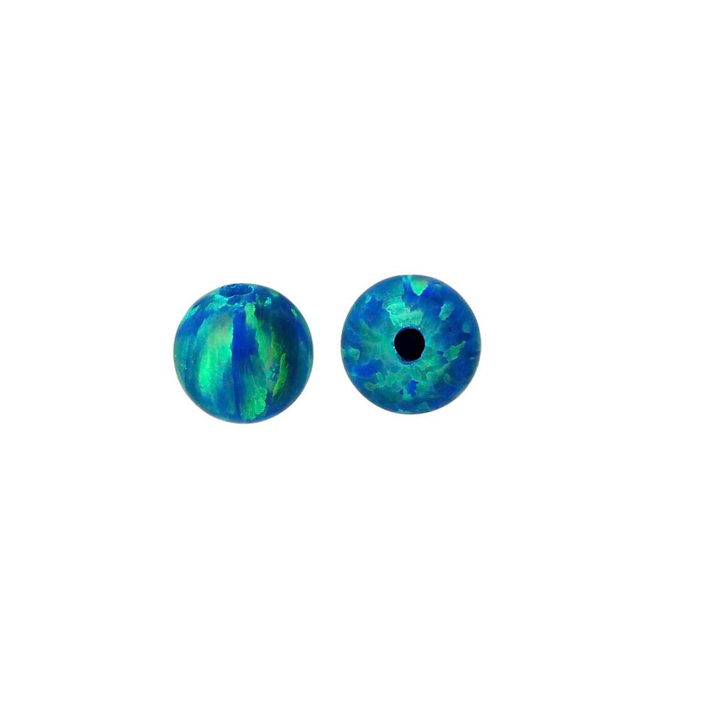 Kyocera Opal Peacock Blue (Synthetic Gemstone) - Half-Drilled Bead