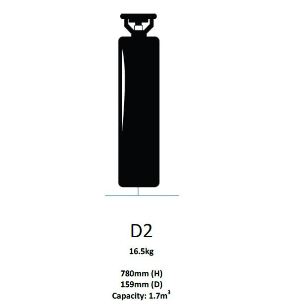Major Equipment & Accessories - NEW Oxygen Cylinder Only - Size D2