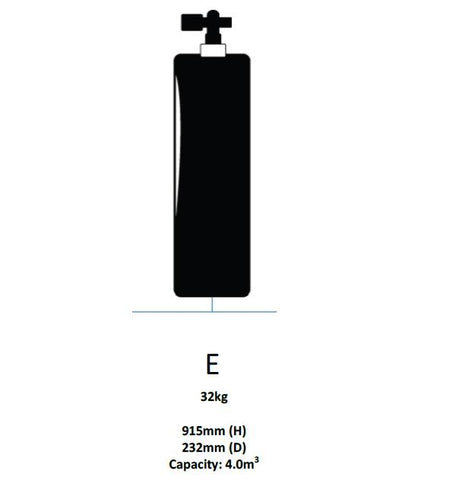 Major Equipment & Accessories - NEW Oxygen Cylinder Only - Size E