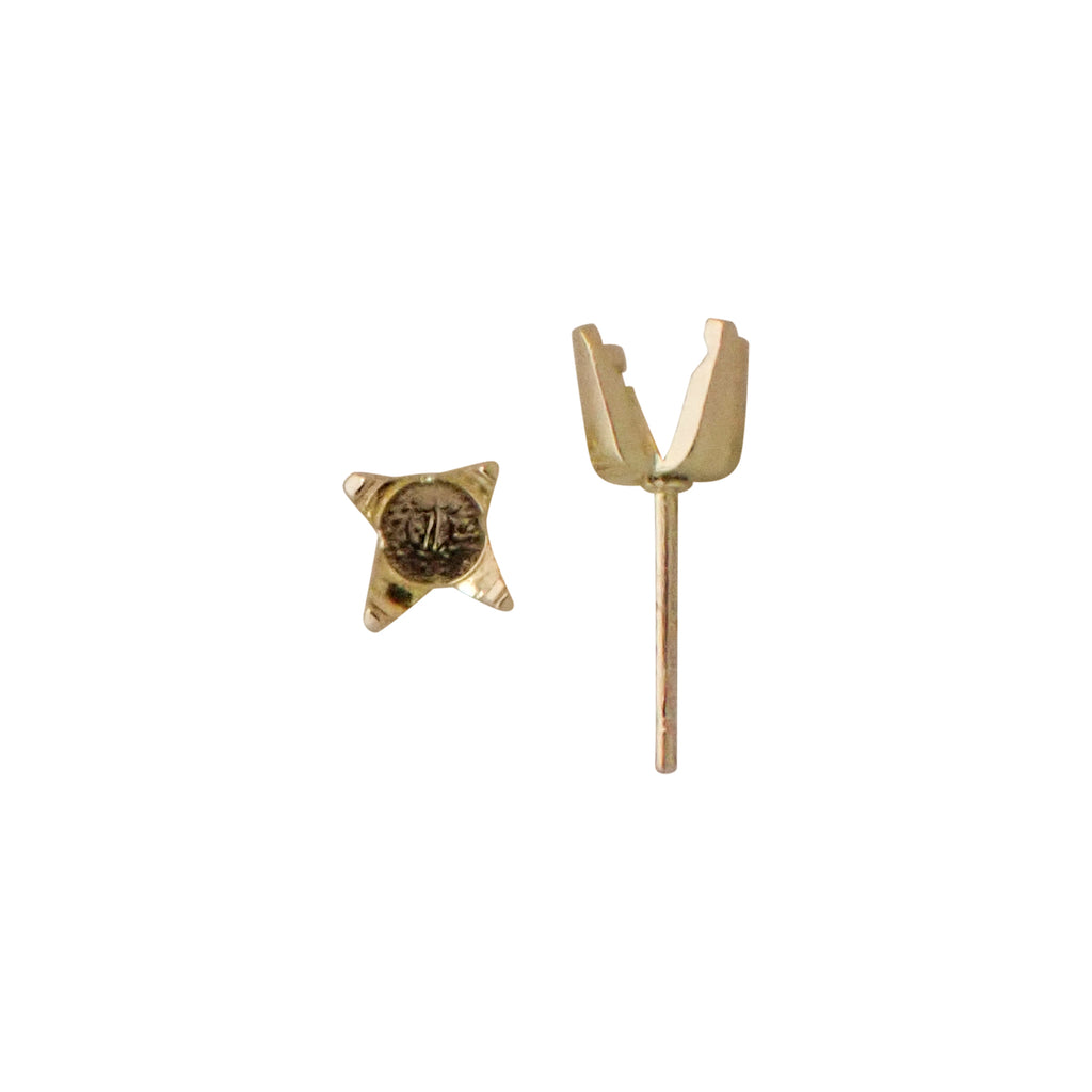 4 Claw Regal Setting Studs - Pre Notched - LARGE: 25pt to 40pt (Use Dropdown List to Select Metal & Size)