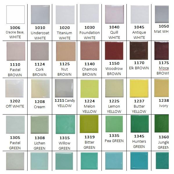 Vitreous Enamels & Accessories - Enamel Colour Chart
