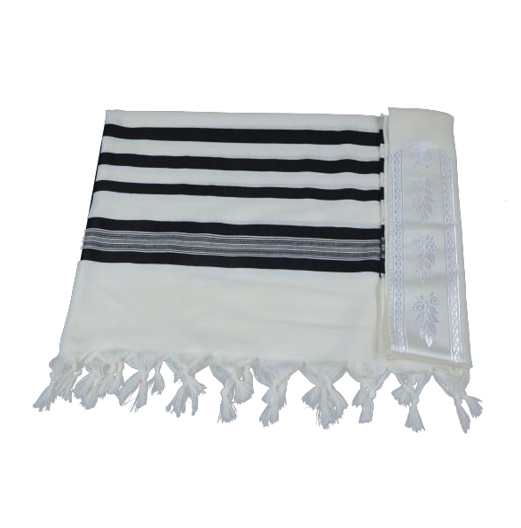 Premium Black Striped Wool Tallit - Prayer Shawl *Blue thread, Techelet option*