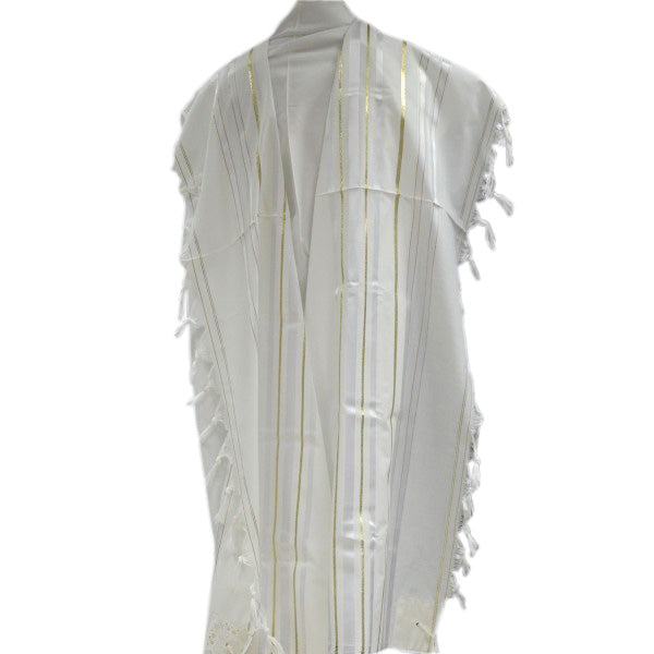 White and Gold Stripes Tallit - Prayer Shawl (42X63 inch)