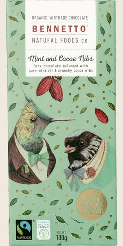 BENNETTO Organic Dark Chocolate  Mint And Cocoa Nibs 100g