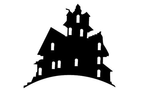 Free haunted house silhouette vector clipart