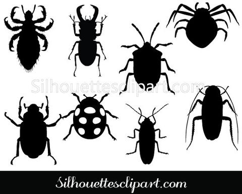Insects silhouette clipart