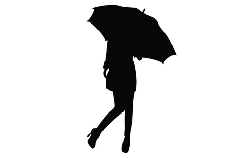 Girl umbrella silhouette vector