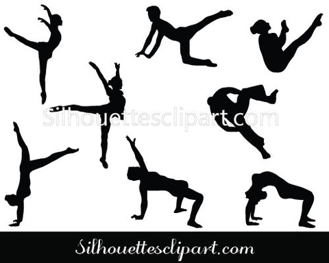 Acrobatic, Gymnast & cheerleader Silhouette Vector