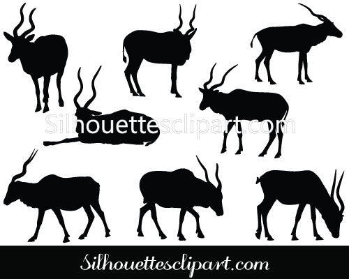 Antelope Silhouette Vector Graphics
