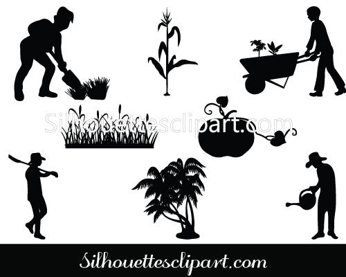 Agriculture Silhouette Vector Graphics Pack