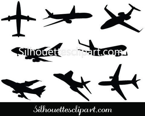 Airplane Silhouette Vector Graphics Pack