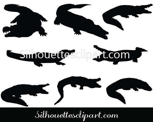 Alligator Silhouette Vector Graphics
